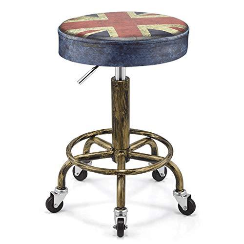 DLMPT Barkruk Draaikruk op wieltjes, in hoogte verstelbare rolkruk, met kunstleer beklede zitting, Werkkruk voor schoonheidssalons, kantoren 8