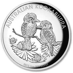 1 oz Unze 999 Silber Kookaburra 2013 Australien echte Silbermünze (nicht nur versilbert) Münze in Münzkapsel