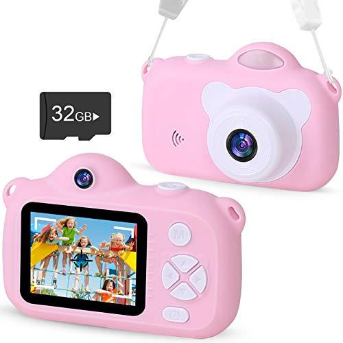 VACPOWER Kids Camera, Upgraded 1080P HD Toddler Camera for Kids, Kids Camera for Girls of 3 4 5 6 7 8 9 10 Year Old Age, Kids Digital Camera with 32G SD Card (Pink)