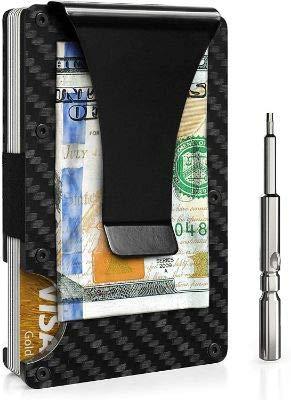 Minimalist Carbon Fiber Slim Wallet | RFID Blocking Front Pocket Wallet | Carbon Fiber Money Clip | Credit Card Holder for Men (Black)
