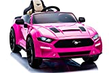 Ford Mustang Ride On Kids Car with Remote, Large 12V Battery Licensed Kid Car to Drive 3 Speeds, Leather Seat, Car Cover, Music by Phone, Rubber Tires (Pink)