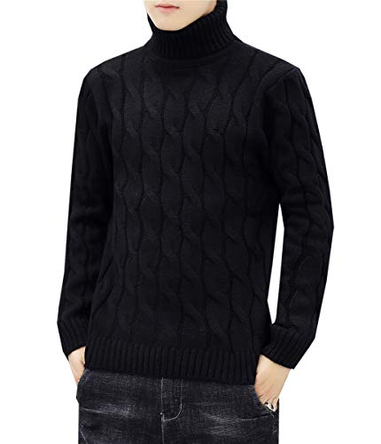 Men's Turtleneck Twisted Cable Knit Pullover Sweater Knitwear Jumper Tops, Black, US XXL