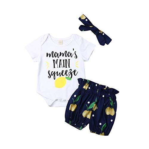 Mubineo Mama's Main Squeeze Baby Girl Outfit Summer Lemon Romper Shorts Sets Clothes with Headband (White/Blue, 18-24 Months)