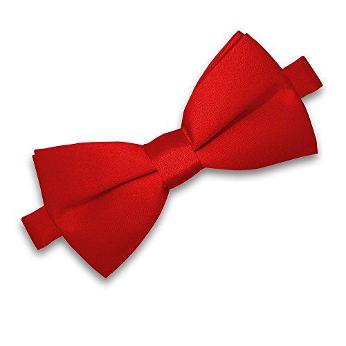 SoulCats® Fliege für Herren zur Hochzeit oder Konfirmation verstellbar Schleife klassisch gebunden, Farbe:rot