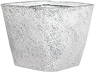 Supremo Eco Friendly Polyethylene Off White Square Pot/Planters (L-14 x W-14 x H-12 Inches) Set of 8