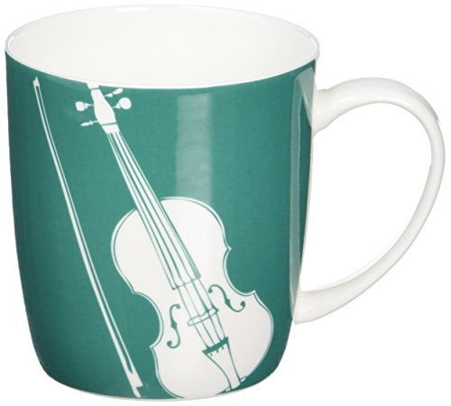 "My music Gifts ""Violine\"" Silhouette Bone China Kaffeebecher, Blaugrün"