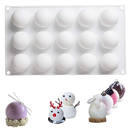 Silicone Mold for Baking 3D Round Ball Shape Candy Mousse Cake Mold Pastry Chocolate Truffle Dessert Mold (15 Cavity)