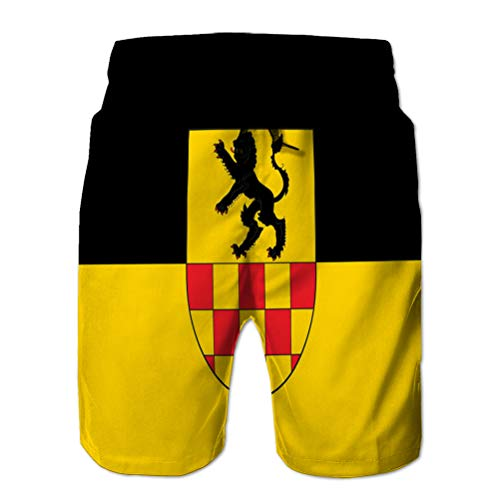 Holefg3b Teen Boys Funny Swim Trunks Quick Dry Beachwear Shorts Flag of linnich in North Rhine Westphalia Germany