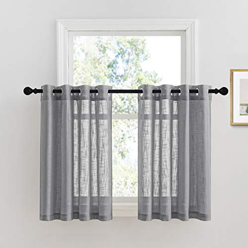 PONY DANCE Window Curtain Valances - Semi-Sheers Tiers Short Drapes Covering Decorative Half Curtains Translucent Voile Panel for Kitchen/Cafe, 52 W x 36 L, Dark Grey, Sold as 2 Pieces