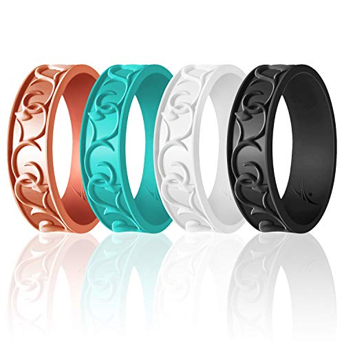 ROQ Silicone Wedding Ring for Women - 4 Pack Ornament Silicone Rubber Wedding Band - Black, Turquoise, Rose Gold, White Colors - Size 8