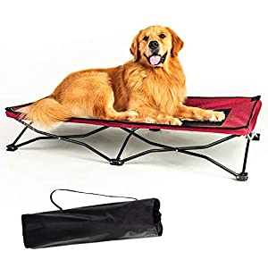 YEP HHO Large Elevated Folding Pet Bed Cot Travel Portable Breathable Cooling Textilene Mesh Sleeping Dog Bed 42 Inches Long (Red)
