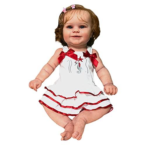 BBR 60 cm/23 pol. Boneca bebê menina boneca nutritiva realista feita à mão corpo macio com cabelo loiro enraizado presente popular