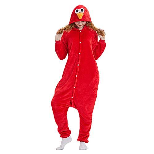 JXILY Pijama de Animales Pijama de una Pieza de Animales de Dibujos Animados de Barrio Sésamo para Hombres y Mujeres Cosplay o Pijama, con Capucha,Rojo,XL