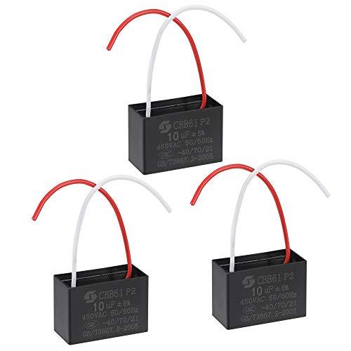 sourcing map Techo Ventilador Condensador CBB61 10uF 450V AC 2 Cables Metalizado Polipropileno Película Condensador 51x35x25mm para Eléctrico Ventilador Bomba Motor Generador 3uds