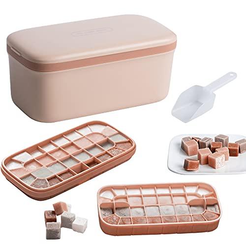 Eiswürfelform Silikon mit Deckel, Eiswürfelbehälter Eiswürfel Eisbox Doppelschicht Eiswuerfel Form 64 Fach EiswürfelBox Ice Cube Tray für Bier Cocktails Whisky (Rosa)