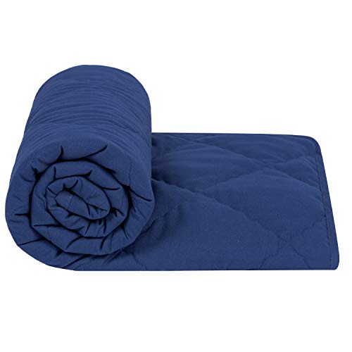 TILLYOU Ultra Soft Microfiber Toddler Quilt- Hypoallergenic Lightweight Baby Quilted Blanket for Boys - 39' x 47' Multi-Use Kids Comforter-Navy Blue