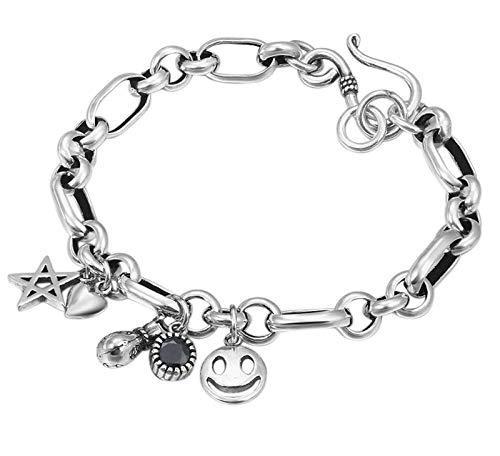 XIRENZHANG Pulsera de plata de ley S925 con diseño de 5 estrellas y bolsillo para dinero, anillo redondo, cadena de plata, diseño retro femenino con cara sonriente