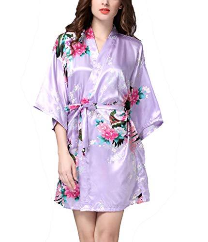Kristallly Dames Satijn Robe Pauw En Bloesems Japanse Kimonos Korte, Vrouw Eenvoudige Stijl Kimono Negligee Korte Van Satijn Met Pauw En Bloemen Badjas Thuis Mode Comfortabele pyjama