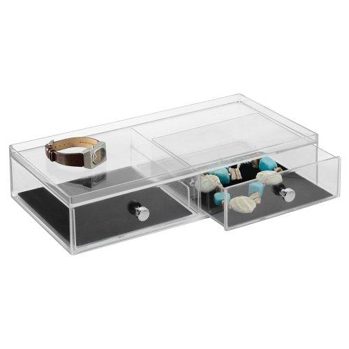 InterDesign Clarity Jewelry boîte à bijoux, bac plastique avec protection anti-rayure, coffret à bijoux à 2 tiroirs pour montres & Cie., transparent