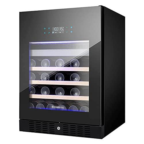 VIY Nevera para vinos Nevera de Bebidas Volumen de 101 litros 6 estantes de Madera Panel táctil Iluminación Interior LED en Tres Colores 2 Zonas Negro