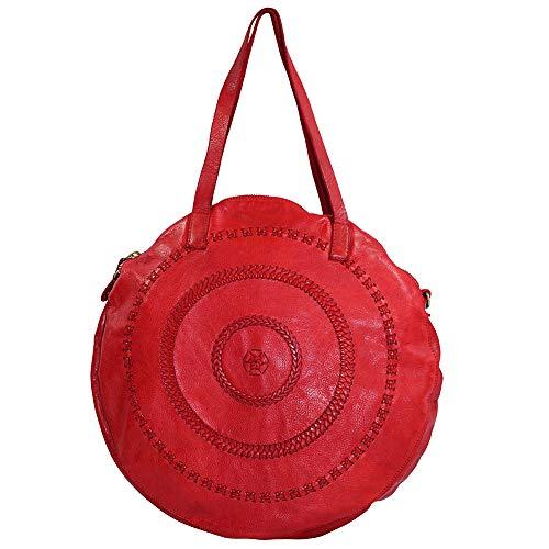 Campomaggi Damen Schultertasche Tonda, (BxHxT) 36 x 36 x 6 cm, rosso