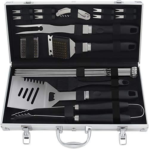 grilljoy 20PC Accesorio BBQ- Set de Utensilios Parrilla de Acero Inoxidable con Estuche de Aluminio para Acampar - Kit de Grill Utensilios Premium - Regalos de Barbacoa Ideal