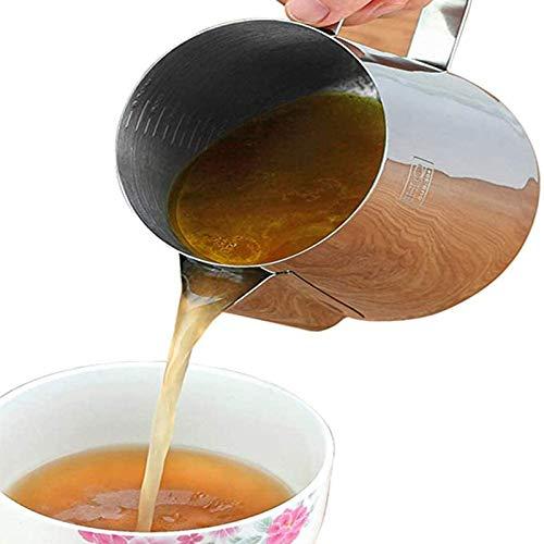 MMGG Fetttrennkanne inkl. Griff+Reinigungsbürste–Fettkanne aus Edelstahl 304 mit Messskala Küchenartefakt für das Abschöpfen von Fett aus Soßen und Suppen (550 ml/900 ml/1500 ml)-S-550ml