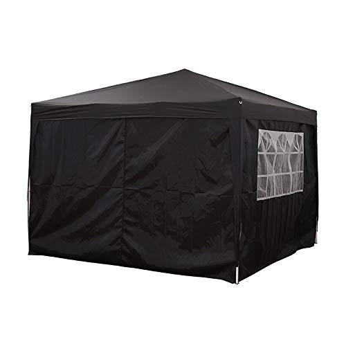 WESTHL Carpa desplegable para jardín, impermeable, carpa de jardín, carpa de fiesta, toldo con paneles laterales (3 x 3 m), color negro