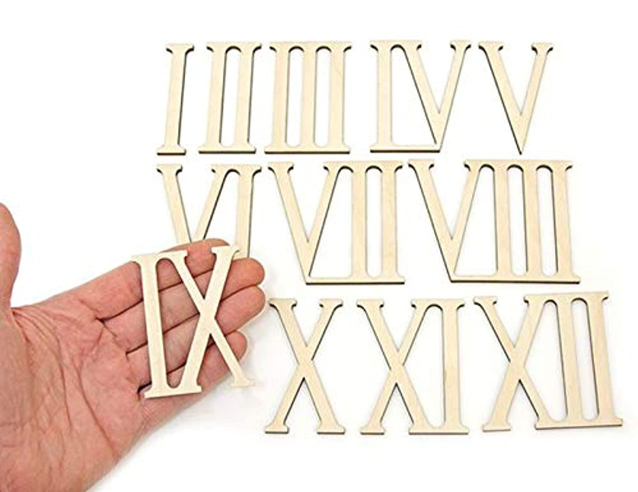 12pcs Wooden Roman Numerals Shape Wood Numerics Numbers Ornaments Craft Decoration (7cm high)