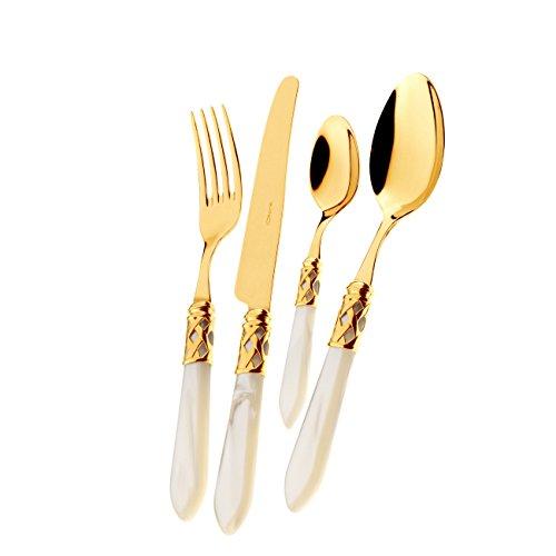 Casa Bugatti Set 24 Posate Aladdin Oro Ghiera Oro Avorio