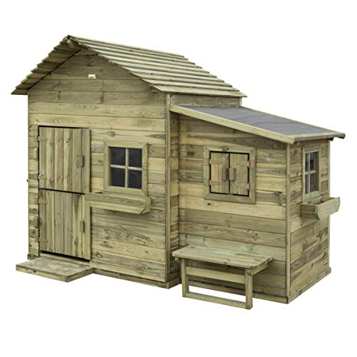 Rowlinson The clubhouse Hideaway Playhouse Play House, Pressure Treated Green