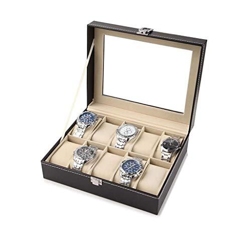 JYDQM Caja de joyería de la Vendimia del Reloj de Madera-Display Caso del almacenaje del Pecho con la Tapa de Cristal Lleva a Cabo con Las Almohadillas Suaves Ajustables