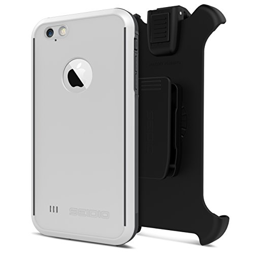 Seidio OBEX Waterproof Case and Removable Belt-Clip Holster Combo for the iPhone 6 Plus/6s Plus [Drop Proof] - Retail Packaging - White/Gray