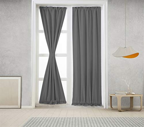 Icegrey Verdunkelung Französische Türvorhänge Gardinen Wärmeschutz & Geräuschreduzierung für Zimmer Grau, 63,5x101,6cm