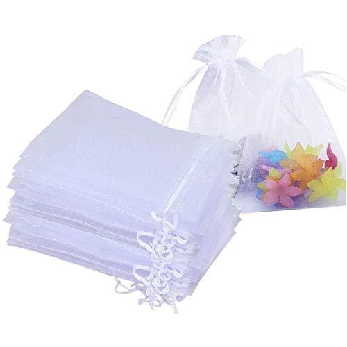 Bolsas de Organza 10X15cm,Bolsita Organza para Regalos-Transparente Blanco