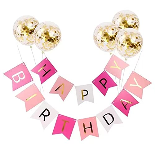 POPOLA SHOP Happy Birthday Banner, Large Colorful Birthday Bunting with Colorful Letters and 5 Pcs Confetti Balloons Party Decorations kits for Any Ages's Party Supplies (multicolour)