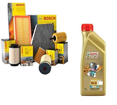 Kit Tagliando aceite Castrol Edge 5W307LT + 4Filtros Bosch (1457429252, 0450906450, 1457433589, 1987432336)