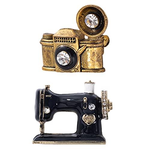 LUOEM 2 Piezas Máquina de Coser Broche Pin Vinilo Registro Joyería Bolsa Ornamento