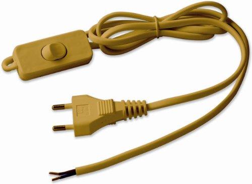 Electraline 70528 - Cable con clavija e interruptor (1,5 m), color dorado