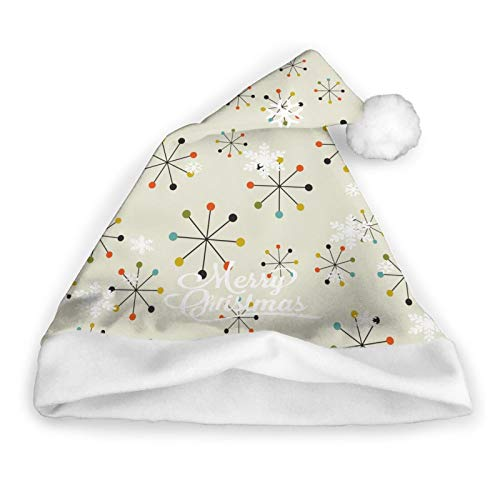 60s Mid Century Absctract Geometric Pattern Christmas Santa Hat Xmas Hat for Costume Party and Holiday Event,Medium