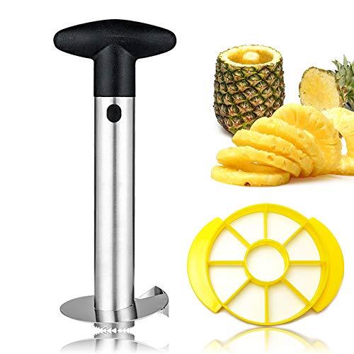 No/Brand Tyelany Ananasschneider, Ananasschneider Edelstahl, Ananas Schäler, Mit 1 STK Gelb Obstschneider, Löst das Fruchtfleisch Komplett aus der Frucht