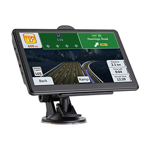 Navigatore Satellitare Auto Camion 7 Pollici Touch Screen GPS per Moto Autobus Taxi, Precaricato Mappa Europa, Avviso Traffico Vocale, Limite di Velocità, Aggiornamenti gratuiti delle mappe a vita