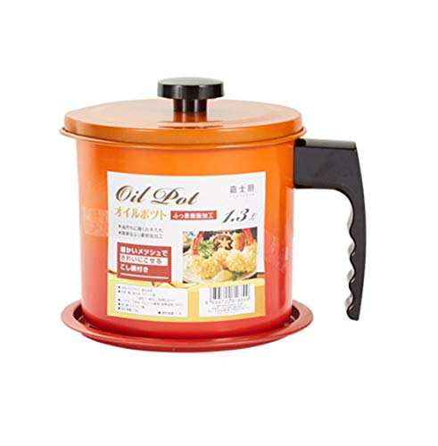 Cooking Oil Storage Grease Keeper, Grease Oil Strainer Container Pot with Filter for Deep Fryer (Orange-1.3L)