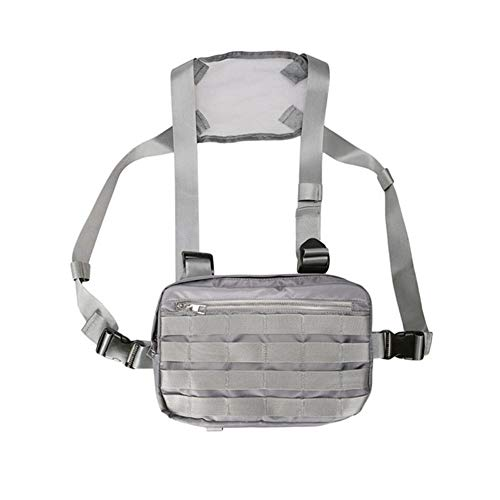 Fashion Mannen Vrouwen Verstelbare Vest Chest Bag Multifunctionele Chest Rig Bags Tactical Pocket Hip Hop Streetwear Cross schoudertas (Color : Gray)