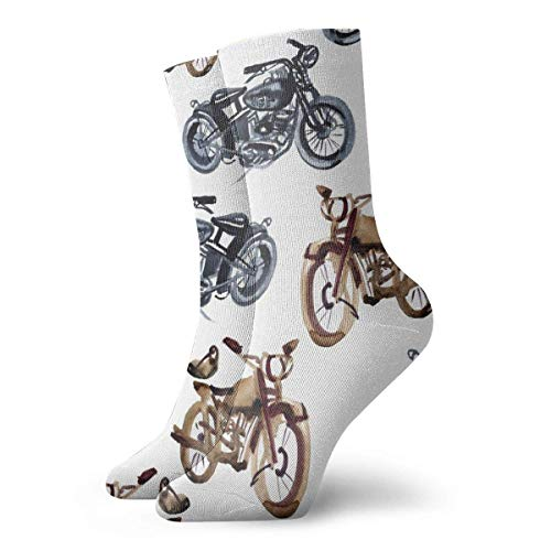 Lsjuee Outdoor Cool Motocicleta Calcetines tobilleros Print Short Crew Calcetines Quarter Calcetines para correr