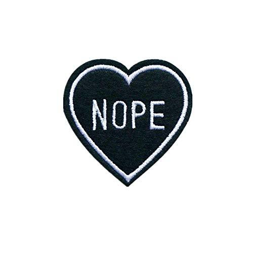 """Gesticktes Emblem/Abzeichen """"Nope"""" zum Aufnähen oder Aufbügeln, in Herzform, passend für Jeans, Jacken"""