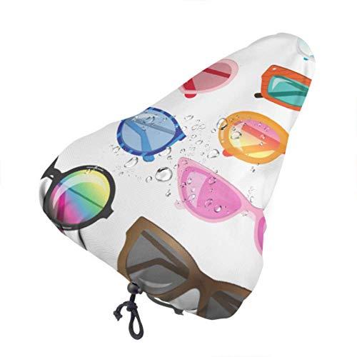 Gafas de sol con cubierta de sillín de bicicleta para niños con cubierta de asiento de bicicleta para mujer multicolor vívida Cubierta de asiento de lluvia para bicicleta con cordón, resistente a la