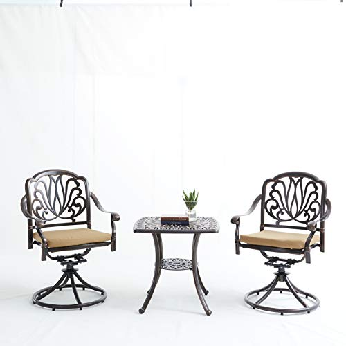 DEJ 3 Pieces Patio Set, Outdoor Cast Aluminum Patio Furniture Sets Modern Bistro Set with Cushions, Garden Furniture Set Chair Conversation Sets for Yard and Bistro