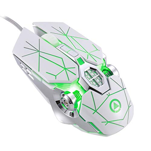 LingAo Gaming Mechanical Mouse, Wired, Silent Click, Ergonomic Shape,3200DPI, 7 Buttons, Backlit, Computer Mice Support Macro Definition for PC,Laptop, MacBook - White