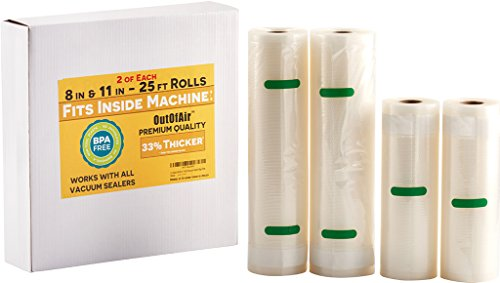 "8"" & 11"" 25ft Vacuum Sealer Rolls (Fit Inside) 4 Rolls (2 of Each, 100ft total) OutOfAir Vacuum Sealer Bags Works With FoodSaver & Other Machines - 33% Thicker BPA Free, Commercial Grade"